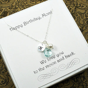 mom birthday gifts silver initial charm necklace