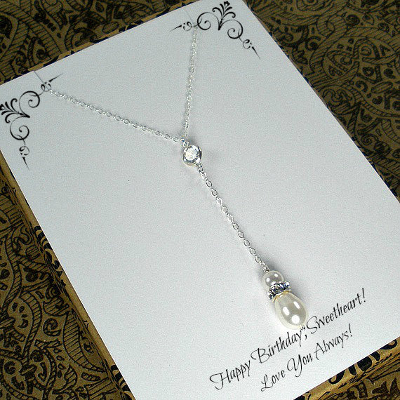 Birthday Gift for Her, wife, girlfriend, White Pearl Necklace, Pearl Drop, Pearl Y, Lariat style, sterling silver, Birthday Message card jewelry