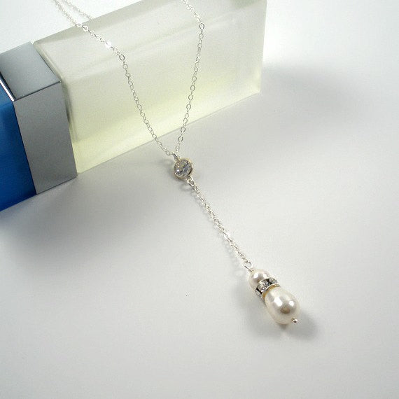 Lariat Necklace, Pearl Y, Pearl Drop Necklace