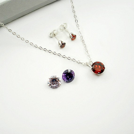 sterling silver cubic zirconia jewelry set gift for her annivesary wedding birthday girlfriend red purple