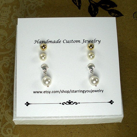 3 pair earring set pearl gold stud seashell dangle earrings
