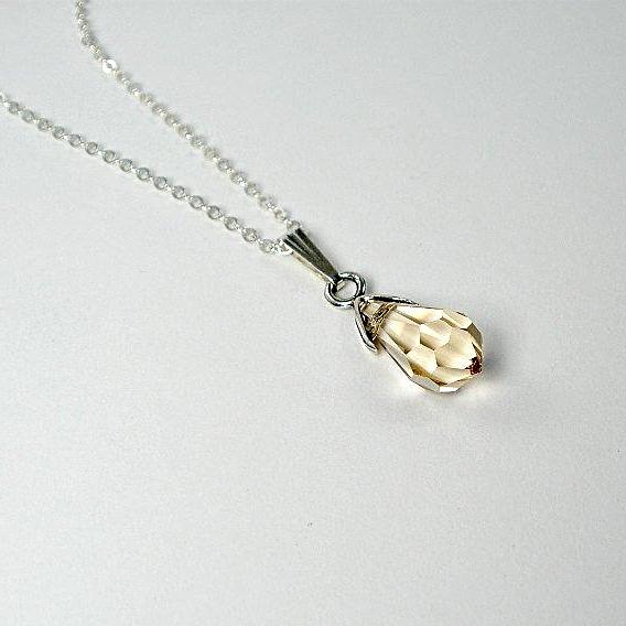 Swarovski Crystal Pendant Necklace, custom color, Sterling Silver