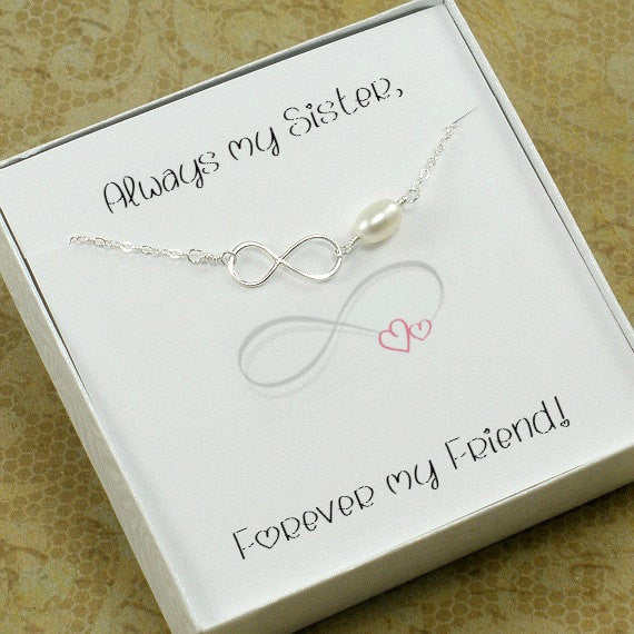 Sister Infinity Bracelet Gift Sister-in-Law Jewelry Sterling Silver