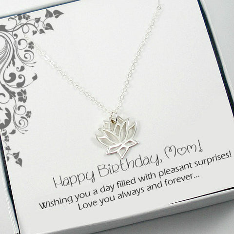 Birthday Gifts for Mom, Mother in Law, Sterling Silver, Lotus Necklace, yoga lovers, message card jewelry