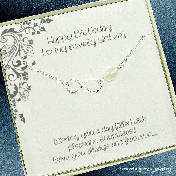 sister birthday gift infinity necklace big sister little sister jewelry