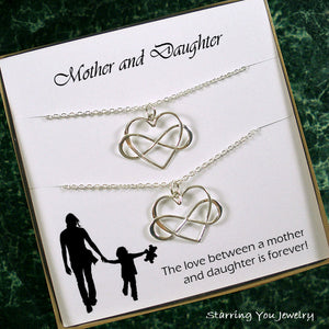 mother daughter necklace set gifts infinity jewelry sterling silver