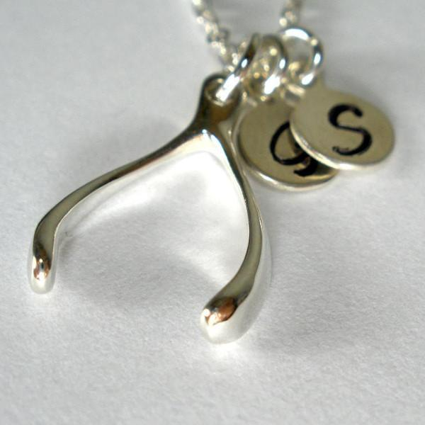 sister initial necklace sisters jewelry silver good luck wishbone