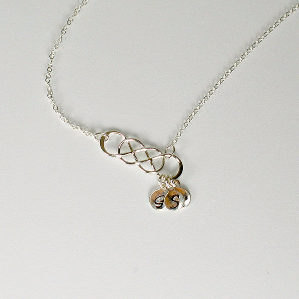 Sideways Initial Necklace Sterling Silver handmade Personalized Jewelry