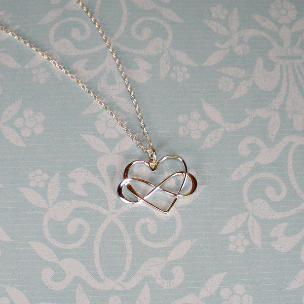 Sterling Silver Infinity Heart Necklace, Infinity Jewelry, Handmade