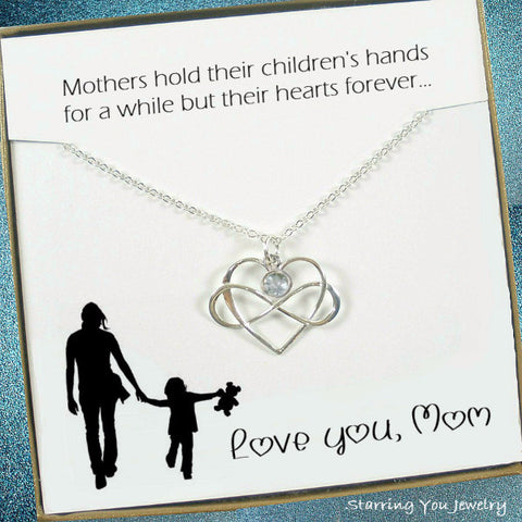 Mom Necklace Meaningful Gifts Gemstone jewelry message Sterling Silver