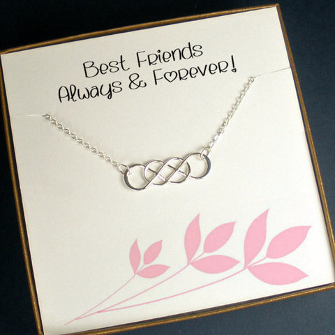 Best Friend Friendship Necklace Jewelry Gifts, Birthday, Christmas Gifts, sterling silver, infinity, message card jewelry
