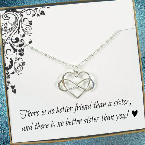 sister gift infinity heart necklace meaningful message jewelry big little sister in law gifts