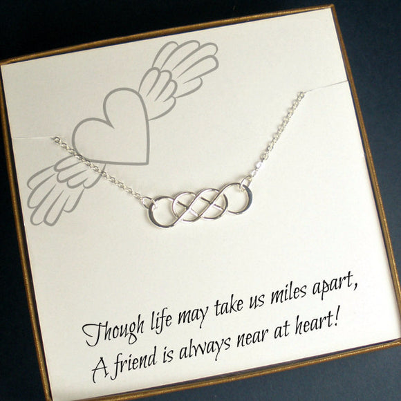 long distance friend gift infinity friendship necklace message jewelry silver