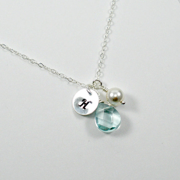 personalized initial necklace silver blue charm
