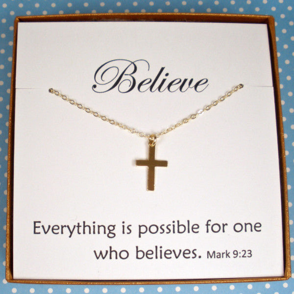 First Communion Confirmation Gifts message jewelry Gold Cross Necklace