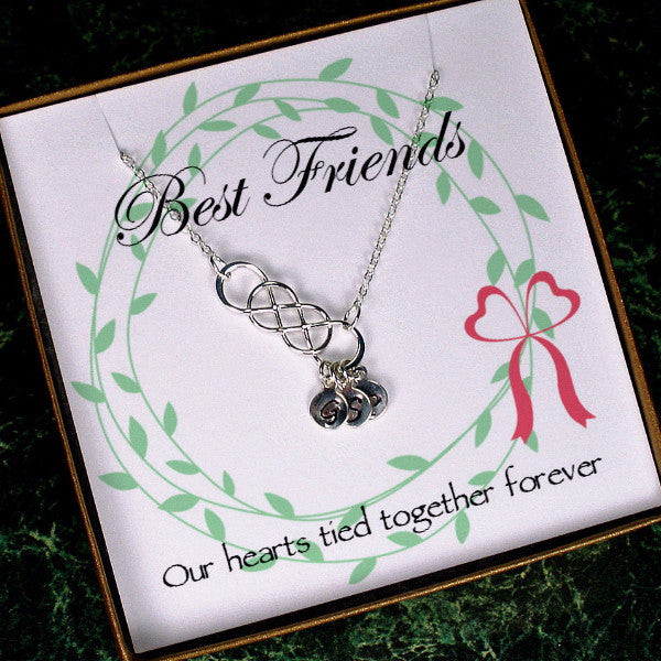 Personalized Best Friend Necklace, Long Distance Friendship Gifts infinity initial silver