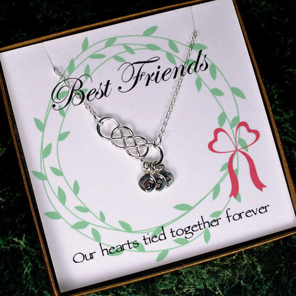 best friend gift long distance friendship necklace infinity initial silver