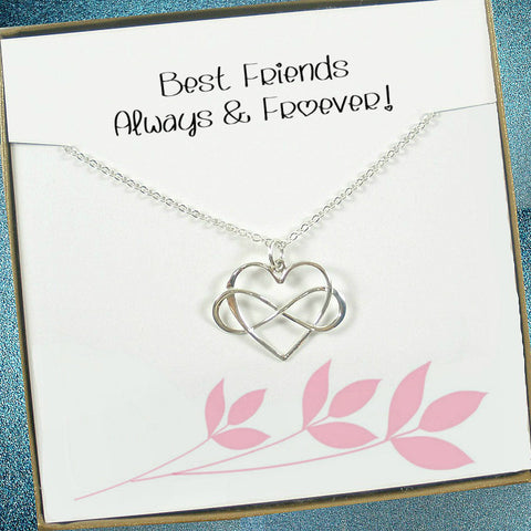 Best Friend Gifts, Friendship, Infinity Necklace, Birthday, Christmas Gifts, sterling silver, infinity heart, message card jewelry
