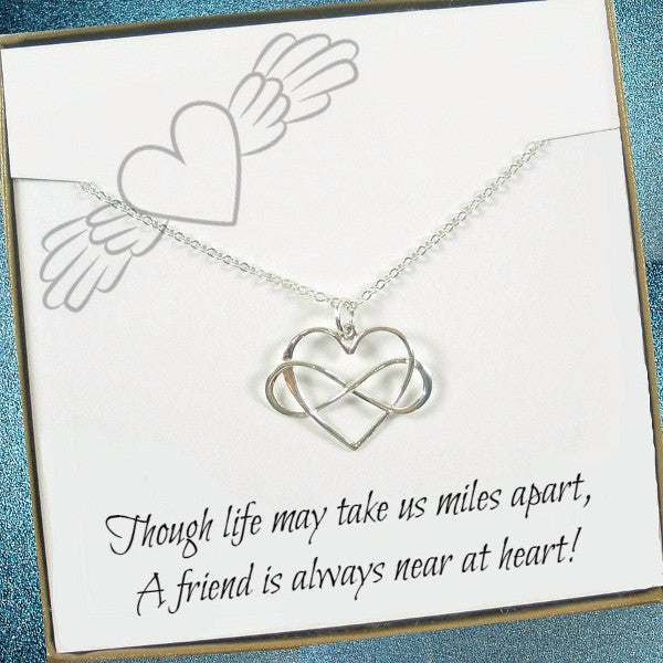 long distance friendship gift infinity heart necklace silver