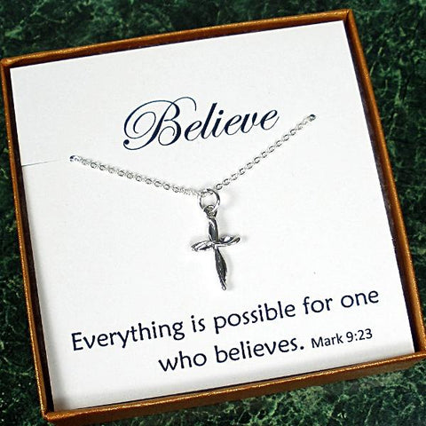 unique christian gifts her silver small swirl cross necklace