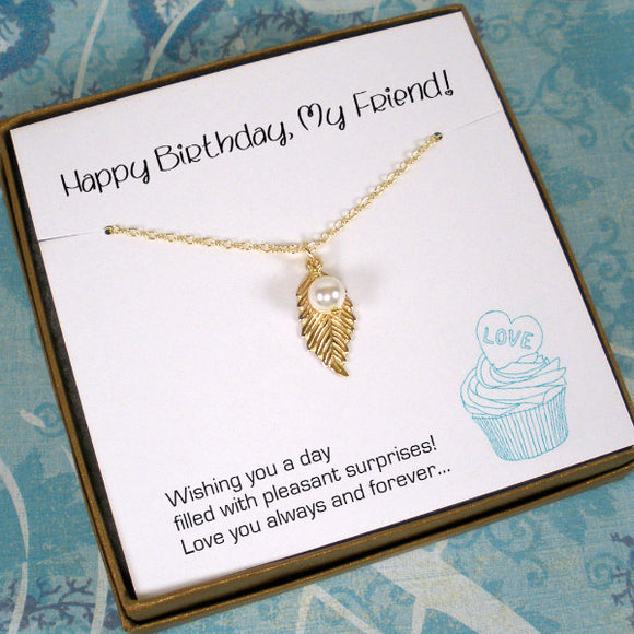 friend birthday gift, leaf necklace gold silver