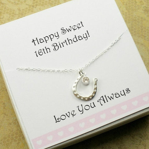 happy sweet 16th birthday gift daughter necklace horse lovers western jewelry gift ideas horseshoe