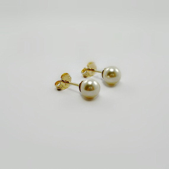 Jewelry Gift for Her, Tiny Pearl Stud Earrings, 14k Gold Filled
