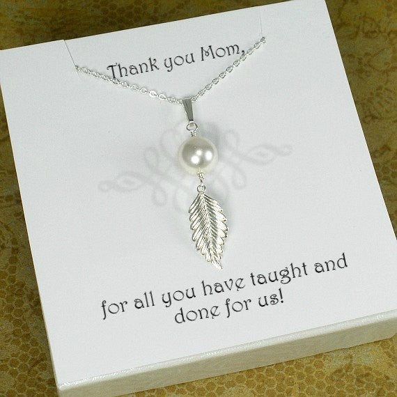 mom gifts mothers day birthday message jewelry single pearl necklace