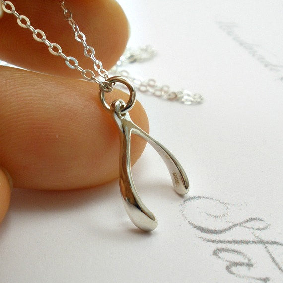 lucky jewelry sterling silver wishbone necklace starringyoujewelry