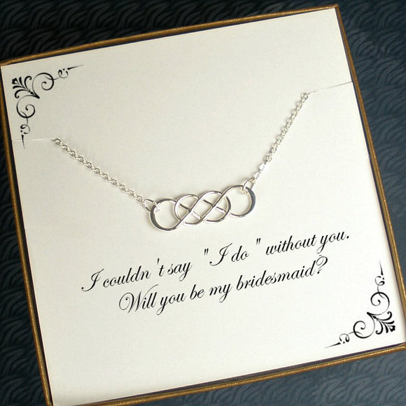 bridesmaid proposal gifts dainty silver necklace