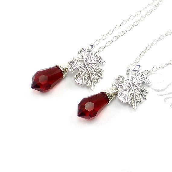 Bridesmaid Matron Maid of Honor Gift Leaf crystal Necklace Silver