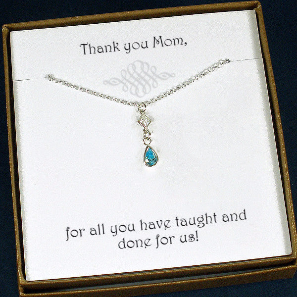 mom gifts birthday Mother's day birthstone mom necklace gemstone wedding