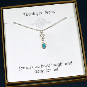 birthstone necklace for mom, sterling silver