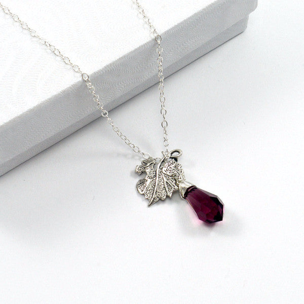 bridesmaid gift set leaf charm necklace sterling silver