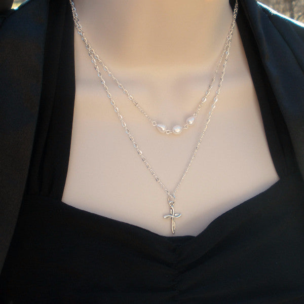 multi strand pearl necklace double layered sterling silver