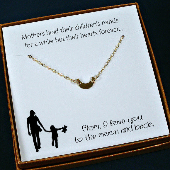 meaningful mom gifts gold moon necklace