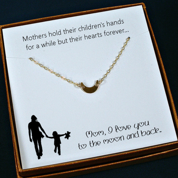 meaningful mom gift birthday Mothers day gold moon necklace