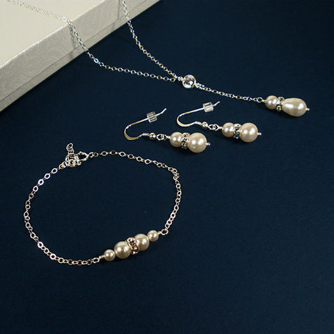 bridal pearl wedding jewelry set bride necklace earrings swarovski white pearl