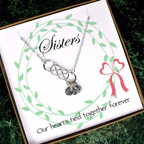 Personalized Sister Sister-In-Law Gifts Infinity Initial Necklace silver