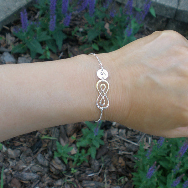 Gift for Bridesmaid Maid of Honor Matron Infinity Initial Bracelet Silver