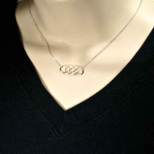 Long Distance Friend Gift - Double Infinity Necklace, Sterling Silver