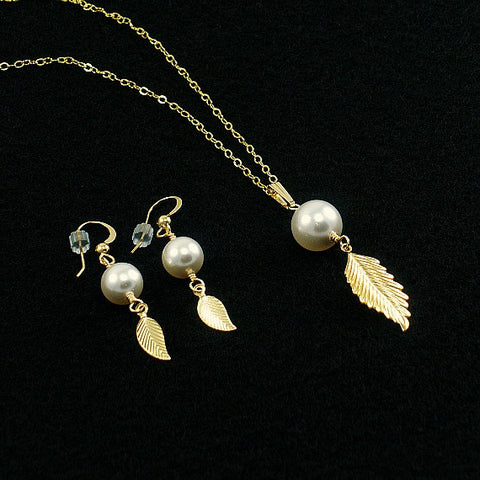 Leaf Pearl Drop Jewelry Set - 14k Gold Filled or Sterling Silver