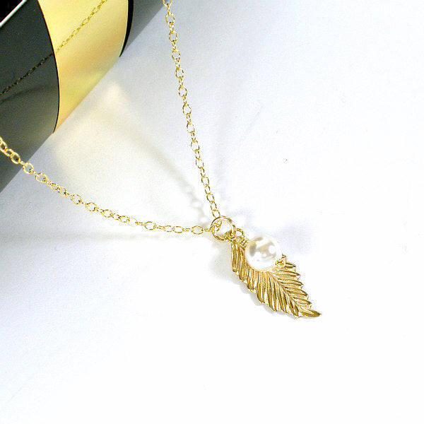 Leaf Necklace - Fall Jewelry, 14k Gold Filled
