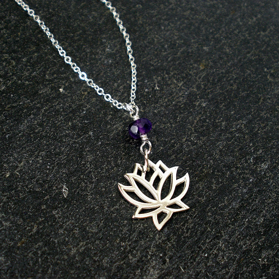 Lotus Flower Necklace With Amethyst Bead Sterling Silver