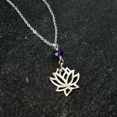 lotus flower necklace yoga healing jewelry amethyst sterling silver