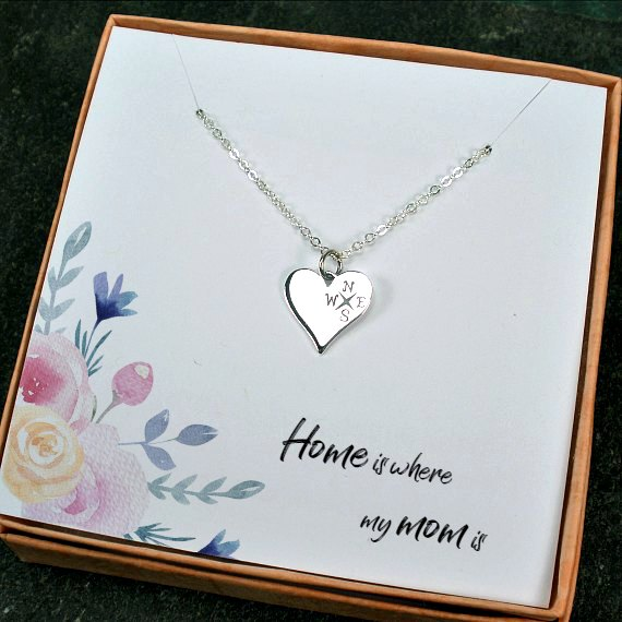memorable mom gifts home is where my heart compass necklace silver