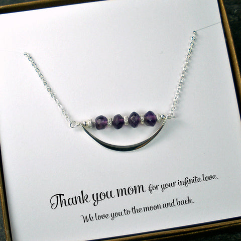 Mom Necklace Jewelry, Mother's Day, Birthday, Christmas Gift, Amethyst