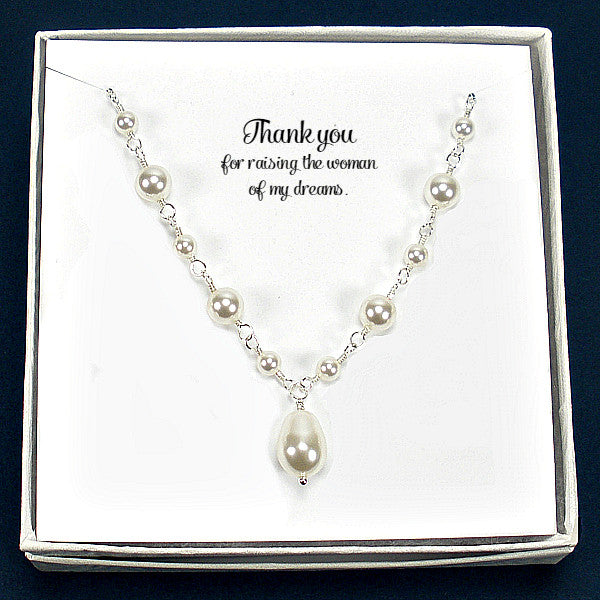 Mother of the Bride and Groom Gift: Wedding Pearl Necklace Sterling Silver