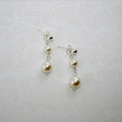 pearl dangle earrings custom bridal wedding jewelry swarovski