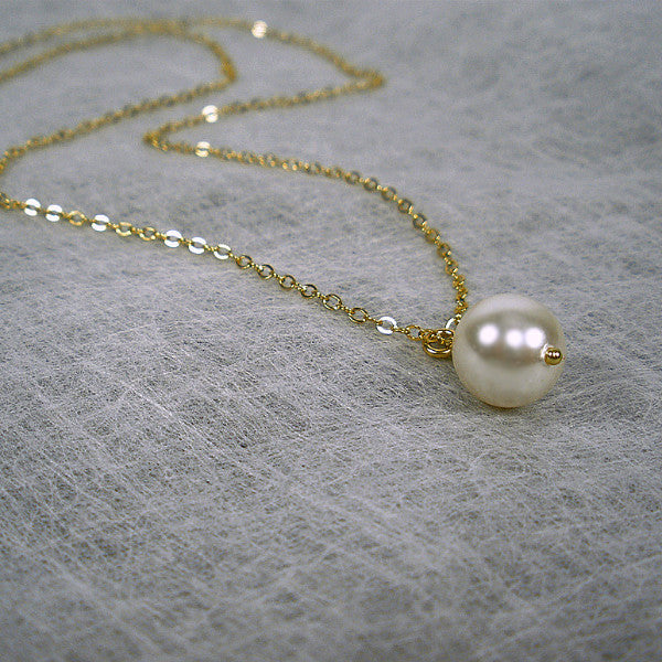 Bridesmaid Gift Set: Single Pearl Necklace, 14k Gold Filled, Sterling Silver